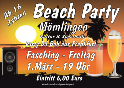2019 Beach Party Plakat