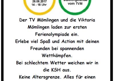 1. Ferienolympiade des TVM  am 26. August 2017